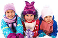 children playing on snow in winter time Royalty Free Stock Photo