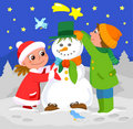 Children playing with snowman Royalty Free Stock Photo