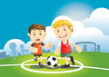 Children playing soccer outdoors vector illustration Royalty Free Stock Photo