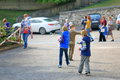 Children playing on the street with soap bubbles. Pyatigorsk, Russia