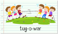 Children playing tug o war illustration Stock Photography