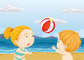 Children playing volleyball at the beach illustration of Stock Images