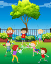 Children playing water gun in the park Royalty Free Stock Photo