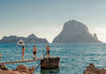 Children in popular cala d hort beach ibiza spain september on september small beloved with a fantastic view of the Stock Photography