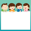 Children post smile on a white board, space frame Royalty Free Stock Photo