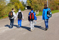 Children poznan poland october group of walking on a park after school Stock Photo