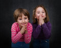 Children pray expression and emotion in gray background Royalty Free Stock Photography