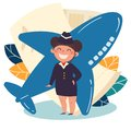 Children profession. stewardess, flight attendant