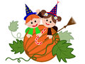 Children on the pumpkin halloween Stock Images