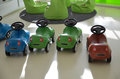 Children race cars plastic in the nursery school Royalty Free Stock Photo