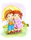 Children. The rain