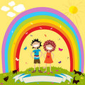 Children and rainbow Stock Photo