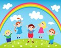 Children and rainbow Stock Images