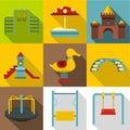 Children rides icons set, flat style Royalty Free Stock Photo