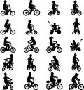 Children riding bicycles set of silhouettes Stock Photography