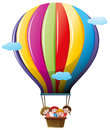 Children riding on colorful balloon