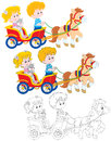 Children riding a pony little girl and boy ride carriage three versions of the illustration Royalty Free Stock Photos