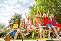 Children on round bar of playground construction Royalty Free Stock Photo