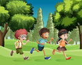 Children running at the park illustration of Royalty Free Stock Images