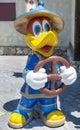 Children's amusement park - big wooden duck with steering wheel Royalty Free Stock Photo