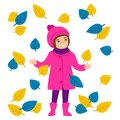 Children`s autumn walk. Girl throws leaves. The game, plays, walks. Happy childhood. Park, outdoor. Vector illustration