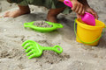 Children s beach toys on sand Royalty Free Stock Photo