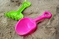Children s beach toys on sand Royalty Free Stock Photos
