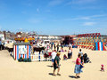 Children s corner weymouth dorset families enjoying on the beach at the seaside town of england uk Stock Images