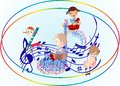 Children s day with a song composition cheerful happy Stock Photos