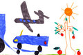 Children's drawing. airplane, car, tree, sun Royalty Free Stock Photos