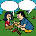 Children s drawing of a couples at a picnic with comic book speech bubble Stock Photography