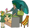 Children s drawing of a girl and an ice cream vendor hand buying from Stock Photography