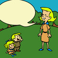 Children s drawing of a mother and her children s cartoon style illustration with comic book speech bubble Royalty Free Stock Photography
