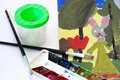 Children's drawing and paints with brushes Royalty Free Stock Image