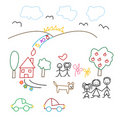Children's drawing - seamless pattern Stock Photo