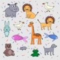 Children`s drawing set of animals. Hippopotamus, lion, dog, fish, bird, bear cub, giraffe, frog, rabbit