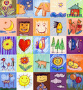 Children s drawing styles human family collection of cute drawings of kids seamless and multicolored symbols set with animals Royalty Free Stock Image