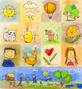 Children s drawing styles symbols set with human family anim collection of cute drawings of kids seamless and multicolored animals Stock Photo