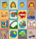 Children s drawing styles symbols set with human family collection of cute drawings of kids seamless and multicolored animals Royalty Free Stock Photography