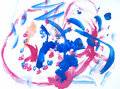 Children's drawing water color paints Royalty Free Stock Photo