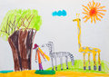 Children s drawing watercolor deochka walks in the park with wild animals Stock Photo