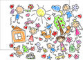 Children's drawings,vector Royalty Free Stock Image