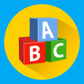 Children`s educational blocks with alphabet