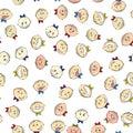 Children`s emotions seamless pattern