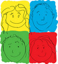 Children's Faces, Primary Colors Royalty Free Stock Images