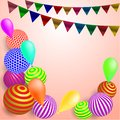 Children`s festive background with flags and balls on a soft pink background