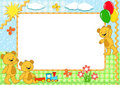 Children's frame. Bears. Handmade. Royalty Free Stock Photos