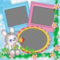 Children's frame with a rabbit. Royalty Free Stock Photography