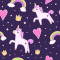 Children`s funny colorful seamless pattern with cute unicorn, heart, rainbow, decorative elements on a neutral background. vector.