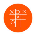 Children`s game - Tic-tac-toe, monochrome round line icon for your website or booklet, flat style.